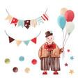 watercolor circus clown set vector image vector image