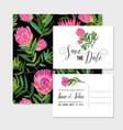 wedding invitation template with protea flowers vector image vector image