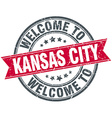 welcome to Kansas City red round vintage stamp vector image vector image