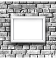 white photo frame on brick wall background vector image