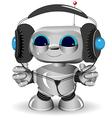 White robot headphones vector image vector image