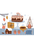 winter homely concept with homemade cake vector image vector image