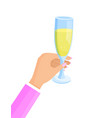 woman hand glass and champagne vector image