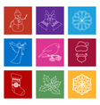 Set of Colorful Square Linear Style Icons vector image