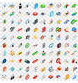 100 security icons set isometric 3d style vector image vector image