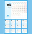 2019 calendar simple planner design vector image vector image