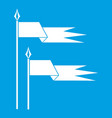 ancient battle flags icon white vector image