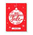 big christmas sale banner with decorative ball vector image vector image