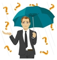businessman under question marks with umbrella vector image vector image