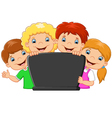 Cartoon happy family with laptop vector image vector image