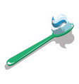 cartoon toothbrush with toothpaste vector image vector image