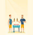 caucasian friends having fun at a barbecue party vector image vector image
