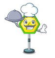 chef with food road traffic sign on the cartoon vector image