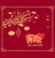chinese new year background with hanging lanterns vector image vector image