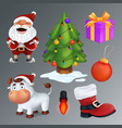 christmas set includes a tree gift box red boot vector image vector image