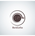 coffee cup world map concept background vector image