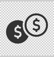 coins stack icon in flat style dollar coin on vector image vector image