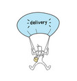 courier man flying on parachute hold box delivery vector image vector image
