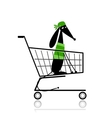 Cute dog in shopping cart for your design vector image vector image