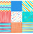 cute set of kids seamless patterns with fabric tex vector image