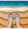 female legs in flip flops on sand beach and sea vector image vector image