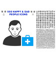 first-aid man icon with bonus vector image vector image