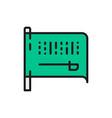 flag saudi arabia flat color line icon vector image vector image