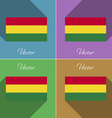 Flags Bolivia Set of colors flat design and long vector image