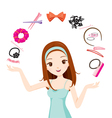 Girl With Hair Accessories vector image vector image