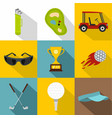 golf related icon set flat style vector image vector image