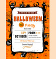 halloween party invitation in frame vector image vector image
