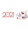 happy new 2021 year christmas flyer with reindeer vector image