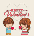 happy valentines little cute couple given a heart vector image