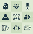 job icons set with investor business goal vector image vector image