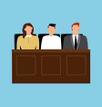 jury in trial man and woman sitting in court vector image