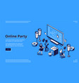 landing page for online party concept vector image