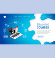 landing training courses laptop graduation cap vector image vector image