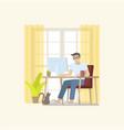 man working on desktop at home vector image
