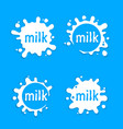 milk labels blot sign milk set splashing vector image
