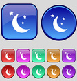 moon icon sign A set of twelve vintage buttons for vector image vector image