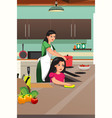 mother and daughter cooking in the kitchen vector image vector image