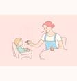 motherhood childhood food family concept vector image vector image