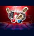 movie cinema poster popcorn tape glasses vector image vector image