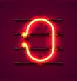 neon font letter o art design signboard vector image vector image