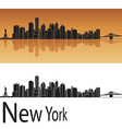 New York skyline in orange background vector image vector image