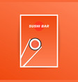 orange sushi bar card with chopstick vector image vector image
