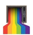 retro tv with rainbow vector image
