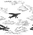 seamless pattern with clouds and airplanes vector image vector image