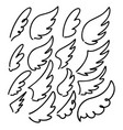 set hand drawn doodle wings design elements vector image vector image