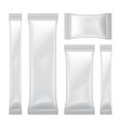 set of white blank foil bag packaging for food vector image